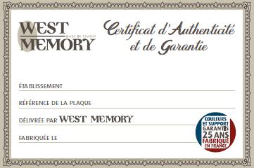 Certificat authenticité et garantie WestMemory
