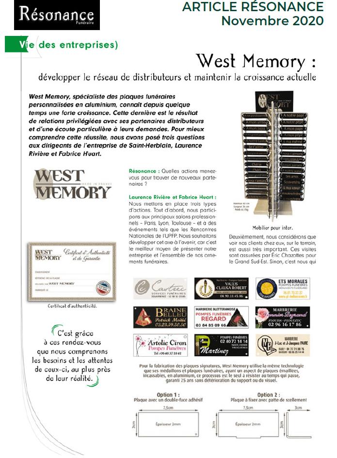 article presse résonance WestMemory