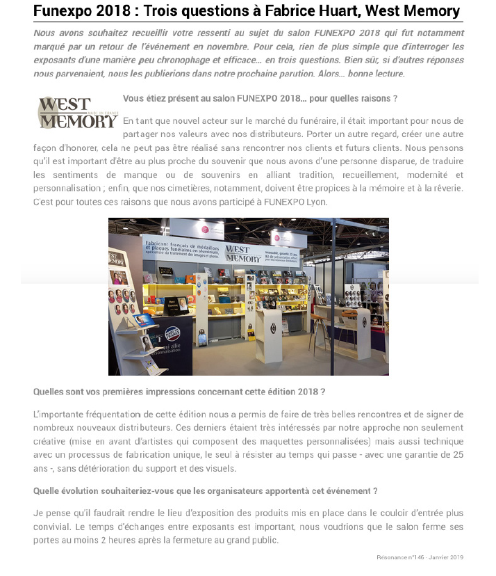 Article presse Resonance janvier 2019 sur Westmemory