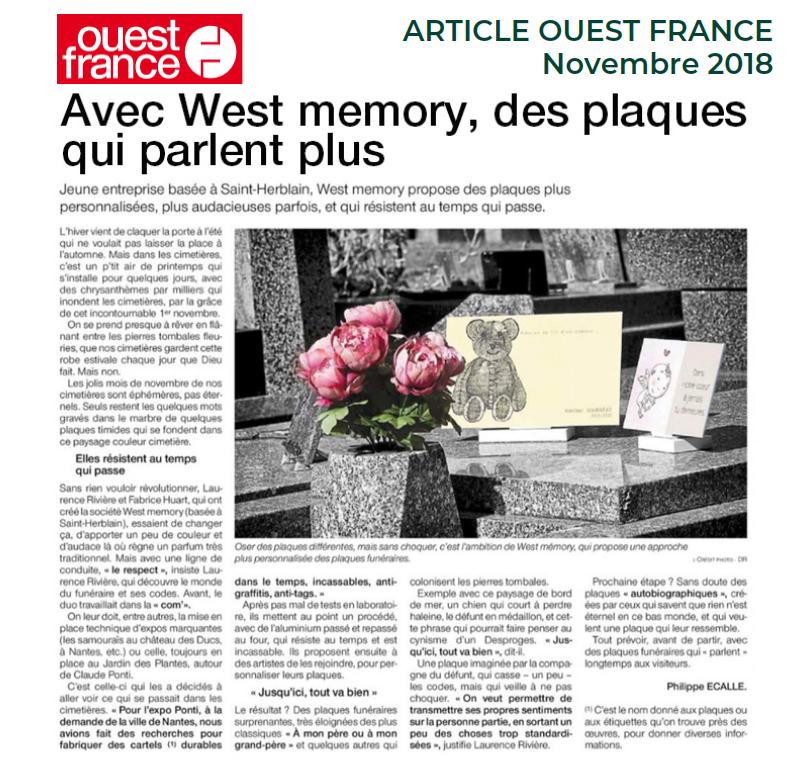 Article presse Ouest France novembre 2018