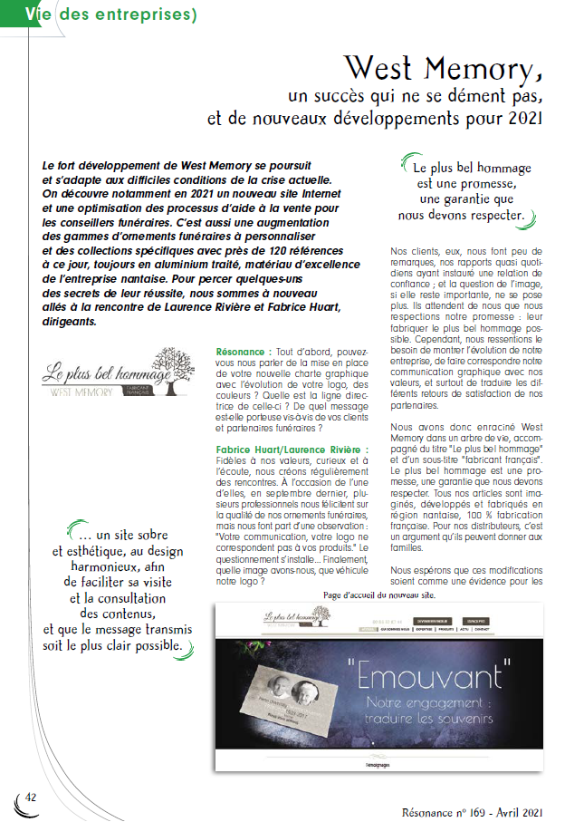 Article résonance Westmemory avril 2021 page 1